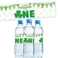Shamrock 1st Birthday Water Bottle Labels - Little Shamrock Birthday Labels - Shamrock First Birthday ONE - Irish 1st Birthday - Green