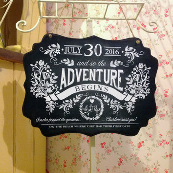 Personalised Engagement Gift, The Adventure Begins Sign, Chalkboard Effect sign