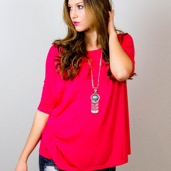 PIKO Short Sleeve Regular Fit Top Bright Pink