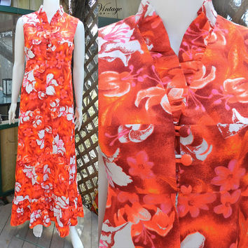 1960s Psychedelic Hawaiian Floral Dress, Bright Maxi Dress, Honolulu  Hukilau Fashion Dress, Size S