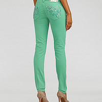 Miss Me Jeans Floral-Embroidered Colored Skinny Jeans | Dillards.com