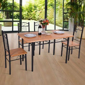 Giantex 5pcs Dining Set Table 4 Chairs Kitchen Modern Furniture Wood Steel Frame