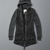 Womens Fleece Sleeve Twill Twofer Parka | Womens Outerwear & Jackets | Abercrombie.com
