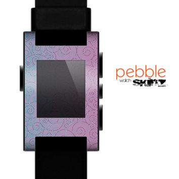 The OverLock Pink to Blue Swirls Skin for the Pebble SmartWatch for the Pebble Watch