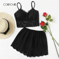 COLROVIE Scallop Trim Lace Contrast Pajama Set 2018 New Fashion Plain Sexy Women Sleepwear Black Sleeveless Two Piece Set