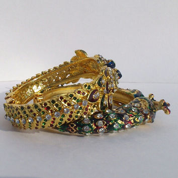 Handmade Kissing Peacock Design Royal Rajasthani Bracelet with Meenakari & Lacquer work