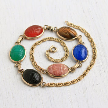 Vintage Scarab Necklace - 12K Yellow Gold Filled Semi Precious Stone Egyptian Revival Jewelry / Chrysoprase, Carnelian, Onyx, Tigers Eye...