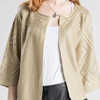 Cut Out Gold Foil Stamping Knitted Cardigan in Gold