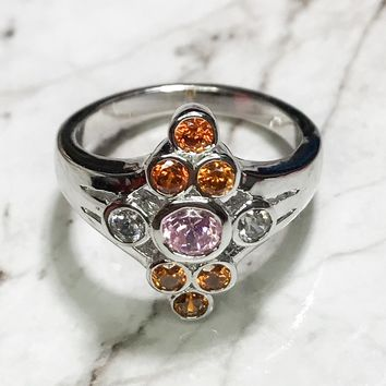 NEW 14K White Gold Layered on Sterling Silver Diamond Shaped with Circle Orange and Pink Stones Ring