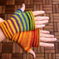 """Fingerless mittens """"Stripesation #3"""", handknit fingerless gloves, wrist warmers, one-of-a-kind - fine yarn and great fit, orange and purple"""