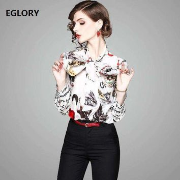 DCCKON3 letter print shirts casual blouse women bow tie cute cat prints long sleeve 100% silk shirt blouses