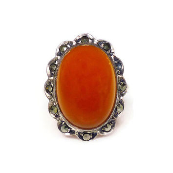 Art Deco Ring, Sterling Germany, Red Carnelian, Marcasite, Silver Jewelry, German Jewellery, Antique Ring, Size 4.75