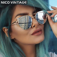 2016 Rose Gold Cat Eye Sunglasses Women Ladies Cool Design Twin-Beams Flat Lens Sun Glasses Female UV400 Protection Shades