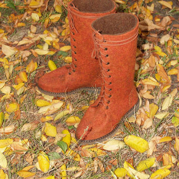 Sale Felted womens red boots with rubber soles. Organic wool spring shoes. Size 7