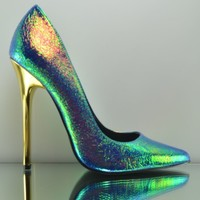 "Privileged Verge Iridescent Green / Blue  5"" Gold Heel Single Sole Pump 6-11"