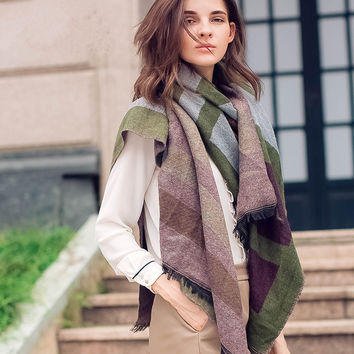 Winter Classics Geometric Green Scarf [9572849423]