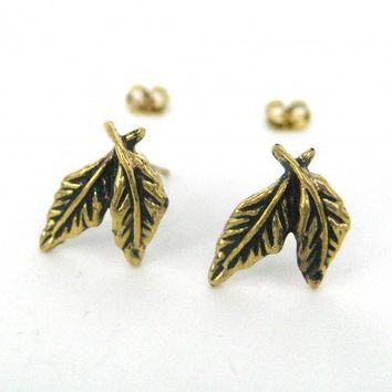 Small Feather Leaf Stud Earrings in Bronze