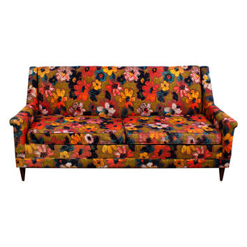 On Hold Bright Floral Sofa Mid Century Modern Vintage 1960s