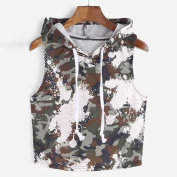 Camouflage Hooded Tank Tops