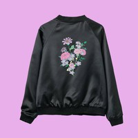 JUST TAKE THESE FLOWERS- soft grunge koko bomber jacket