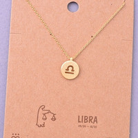 Dainty Circle Coin Libra Zodiac Symbol Necklace - Gold, Silver or Rose Gold