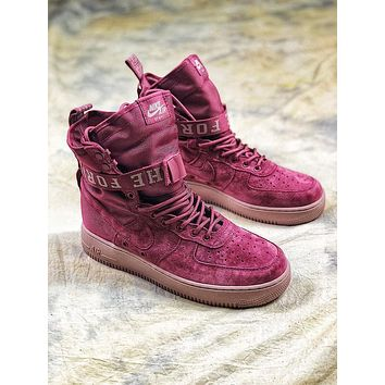 Nike Special Forces Air Force 1 SF AF1 Suede Red Wine Boots Sport Shoes - Sale