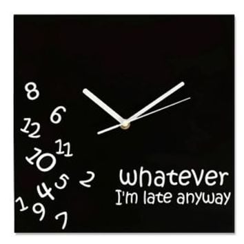 Wall Clock Hang Time Fall Novelty Unique Fun Decor Whatever Late Friends Gift