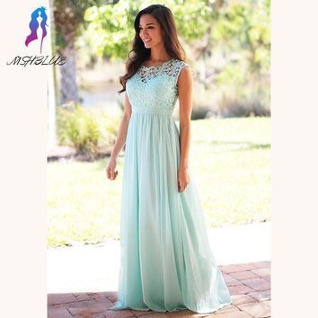 Elegant Mint Green Long Lace Bridesmaid Dresses Chiffon Pleats Back Zipper Floor Length Women Maxi Dress For Weddings