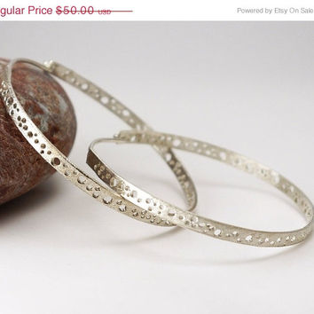 ON SALE Big silver earrings hoops -  Large statement jewelry  in a comfortable lightweight design