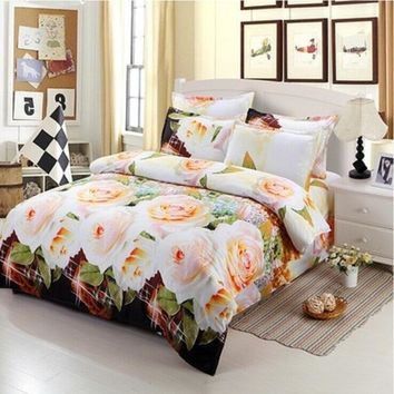Duvet Cover Set,3D Purple Rose Printing Comfortable Bedding Set Bed Cover Duvet Cover Sets Linens