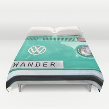 Wander wolkswagen. Summer dreams. Green Duvet Cover by Guido Montañés