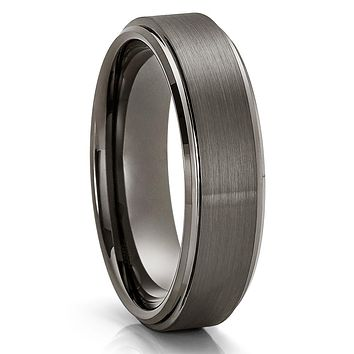 Gunmetal Tungsten Ring - 6mm - 8mm Gray Tungsten Ring - Anniversary Ring - Brush