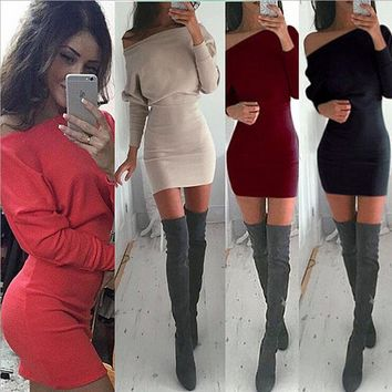 haki Tunic Winter Dress Women Casual Batwing Sleeve Party Dresses Lady  Mini Slash Neck Dress