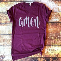 Maroon and Silver Glitter AMEN Graphic Tee (S-XL)