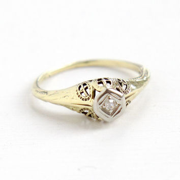 Antique 14k Yellow & White Gold Art Deco Diamond Ring - Size 5 1/4 Vintage Filigree 1920s 1930s Wedding Engagement Fine Jewelry