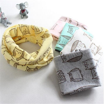 new spring winter O ring baby scarf owl panda cat star car cartoon kids scarves warm children neck wear collars candy color hat
