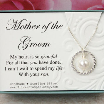 Gift for Mother of the Groom gift from bride Sterling silver Swarovski pearl necklace bridal party gift for future mother in law