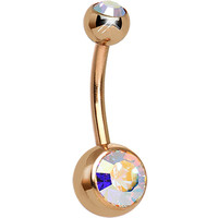 Aurora CZ Rose Gold Plated Belly Ring | Body Candy Body Jewelry
