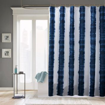 Fabric Shower Curtains Blue White Stripe Printed Mildewproof Polyester