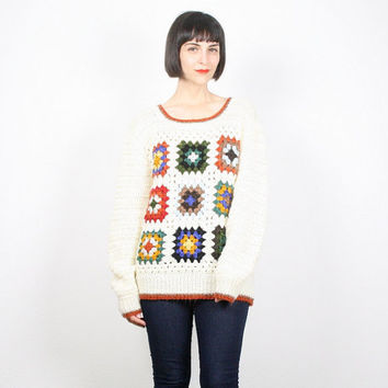 Vintage Crochet Sweater Granny Squares Jumper Hippie Sweater Cream Knit Pullover Boho Granny Square Blanket Knit 1970s 70s Rainbow L Large