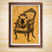 Bulldog print Dog poster Animal decor