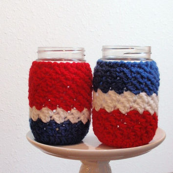 Mason Jar Cozies 4th of July Two Pint Size Red, White, Blue - Save on Combined SHIPPING