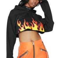 Flaming Rose Crop Hoodie