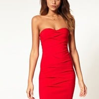 ASOS | ASOS Pleated Strapless Dress with Curved Neckline at ASOS