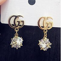 GUCCI Stylish Women GG Letter Diamond Pendant Earrings Accessories Jewelry I13711-1
