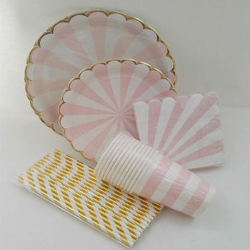 Pink Striped Dinner Paper Tableware Plates Cups Napkins Foil Gold Paper Straws Carnival Party Decor Supplies Tableware