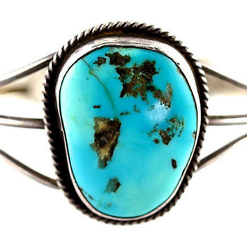 Navajo Silver & Turquoise Cuff Sterling Silver Bracelet