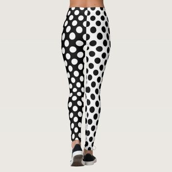 Mirror Opposites Black and White Polka Dot Leggings