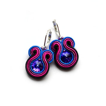 Statement soutache earrings PURPLE bridesmaid gift summer boucles d'oreilles pendientes orecchini swarovski crystal blue pink bijoux schmuck