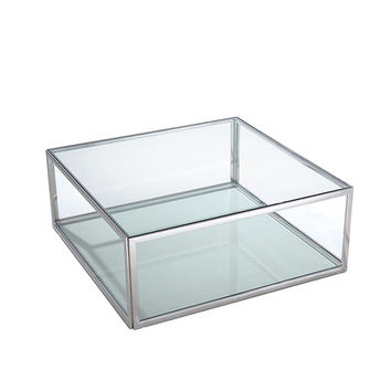 Magnolia Side Table square clear glass